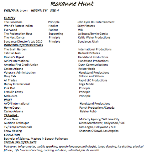 Resume of Roxanne Hunt